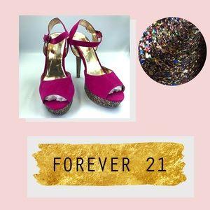 💥FOREVER 21, glitter sole heels, EUC